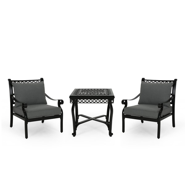 Westlake Outdoor Aluminum Club Chair And Table Set By Christopher Knight Home