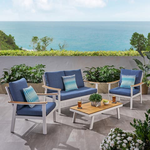 Sinclair Outdoor 4 Piece Aluminum and Faux Wood Chat Set by Christopher Knight Home