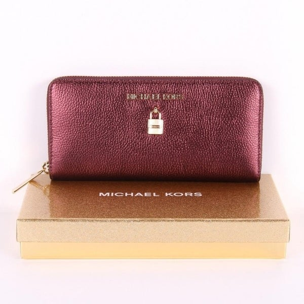 dad55eed8865 Michael Kors GIFTABLES ADELE Zip Around Continental Leather Wallet  Giftables- Merlot
