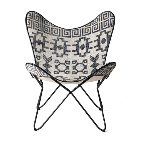 "Massa Butterfly Chair In Printed Rug Top & Canvas Fabric Backing - 27""x 29""x 32"""
