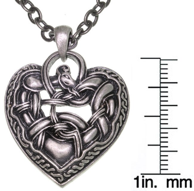 Carolina Glamour Collection Celtic Dragon Heart Pewter Necklace