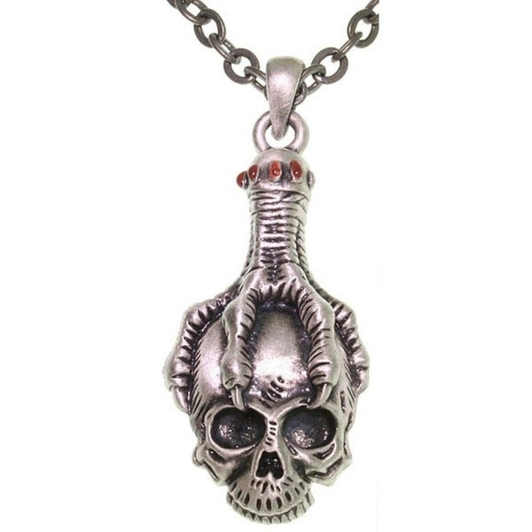 Carolina Glamour Collection Pewter Unisex Eagle Claw Skull Necklace
