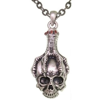 Pewter Unisex Eagle Claw Skull Necklace