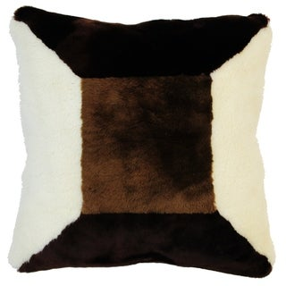 Natural Geo Flocculent Sheepskin White/Dark Brown Square Pillow