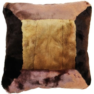 Natural Geo Flocculent Sheepskin Beige/Brown Square Pillow