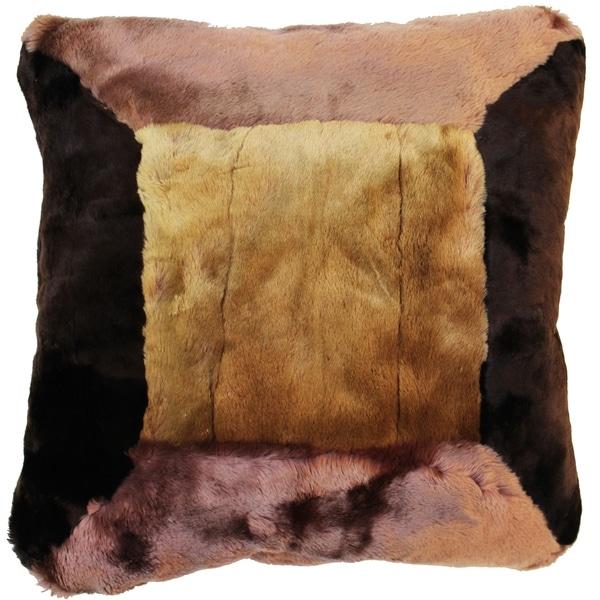 Natural Geo Flocculent Sheepskin Beige/Brown Square Pillow