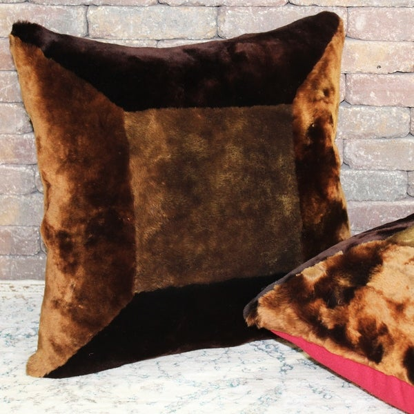 Natural Geo Flocculent Sheepskin Dark Brown Square Pillow