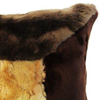 Natural Geo Flocculent Sheepskin Beige/Brown Square Decorative Throw Pillow