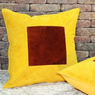 Natural Geo Prolific Leather Suede Yellow/Brown Square Pillow