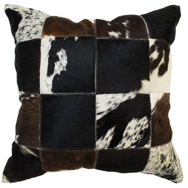 Natural Geo Herd Cowhide Brown/Black Square Decorative Throw Pillow