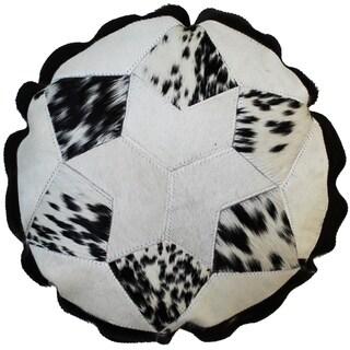 Natural Geo Herd Cowhide Brown/Black Round Decorative Throw Pillow