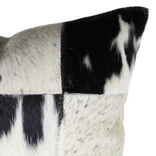 Natural Geo Herd Cowhide Black/Brown Square Decorative Throw Pillow