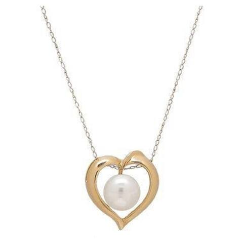 Gold Heart and Freshwater Pearl Pendant with Chain