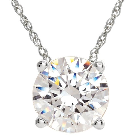 Bliss 14k White or Yellow Gold 3/8ct TDW White Diamond Solitaire Floating Pendant