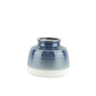 Round Decorative Ceramic Vase in Dual Tone, Blue and White