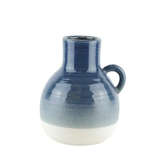 Bellied Jug Shape Ceramic Vase with Ribbed Pattern, Small, Blue and White