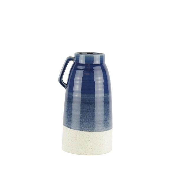 Dual Tone Decorative Ceramic Vase with Handle, Large, Blue and White