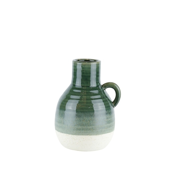 Ribbed Patterned Ceramic Vase with Handle, Large, Green and White