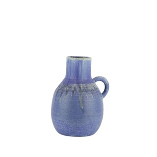 Jug Shaped Decorative Ceramic Vase with Dripping Pattern, Large, Blue