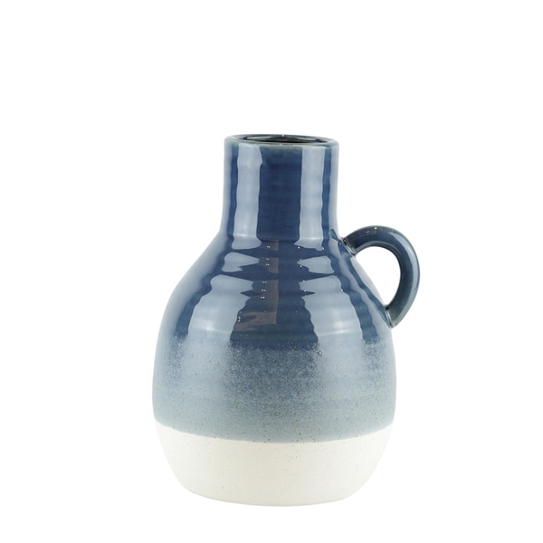 Bellied Jug Shape Ceramic Vase with Ribbed Pattern, Large, Blue and White