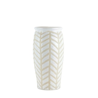 Crackled Textured Ceramic Table Vase with Geometric Pattern, Large, White and Beige