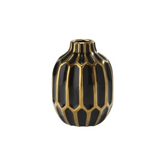 Embossed Ceramic Round Vase with Small Mouth Open, Black and Gold