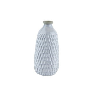 Ceramic Vase with Engraved Scalloped Pattern, Small, Gray