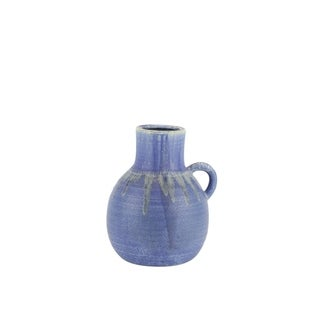Jug Shape Decorative Ceramic Vase with Dripping Pattern, Small, Blue