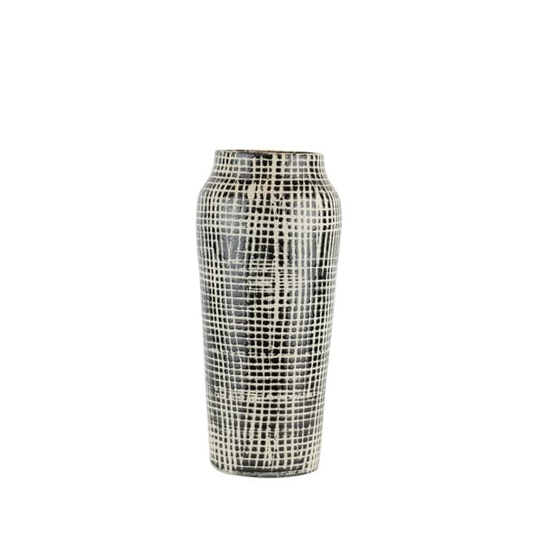 Checkered Pattern Decorative Ceramic Vase with Narrow Bottom, Small, Beige and Black