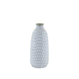 Ceramic Vase with Engraved Scalloped Pattern, Medium, Gray