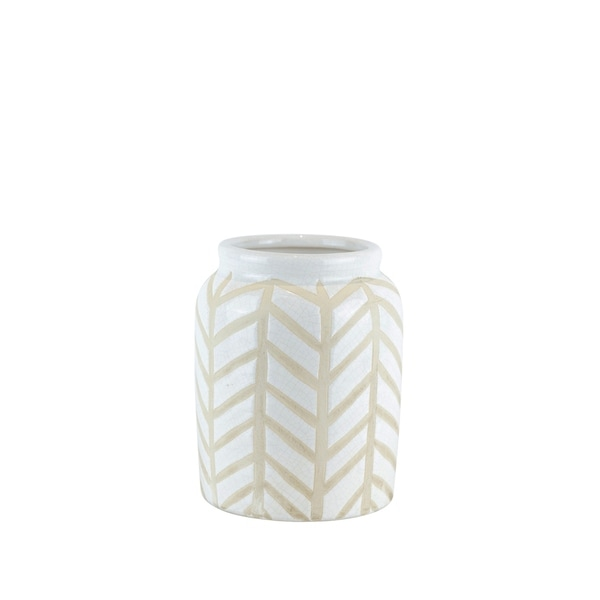 Crackled Textured Ceramic Table Vase with Geometric Pattern, Small, White and Beige