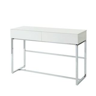 Contemporary Rectangular Wooden Sofa Table with Two Drawers and Metal Base, White and Silver