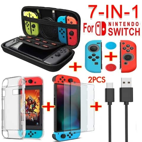7 in 1 Accessories for Nintendo(Switch Bag,Crystal Shell,Charging Cable,Tempered Glass Film,silicone sleeve)