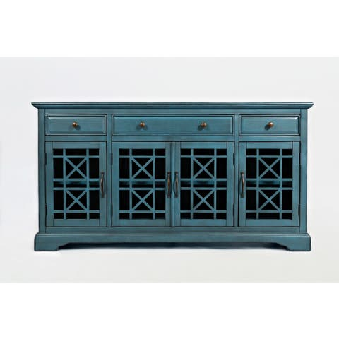 Craftsman Series 60 Inch Wooden Media Unit with 3 Drawers, Antique Blue