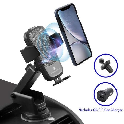 Cobble Pro Qi Wireless Car Charger with QC 3.0 Car Charger and Suction Arm, Quick Charge Air Vent Dashboard Phone Mount