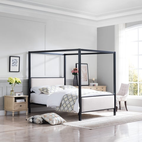 Duane Traditional Fabric Canopy Queen Bed with Iron Frame by Christopher Knight Home