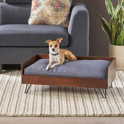 Bonneville Mid-Century Modern Pet Bed with Acacia Wood Frame by Christopher Knight Home