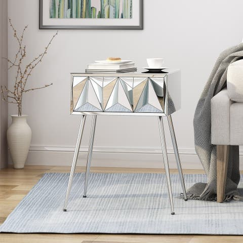 Corwin Mirrored Side Table by Christopher Knight Home