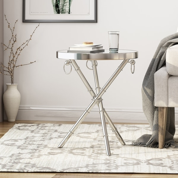 Bancroft Modern Mirrored Accent Table by Christopher Knight Home