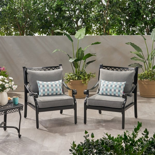 Westlake Outdoor Aluminum Club Chairs With Cushions Set Of 2 By Christopher Knight Home