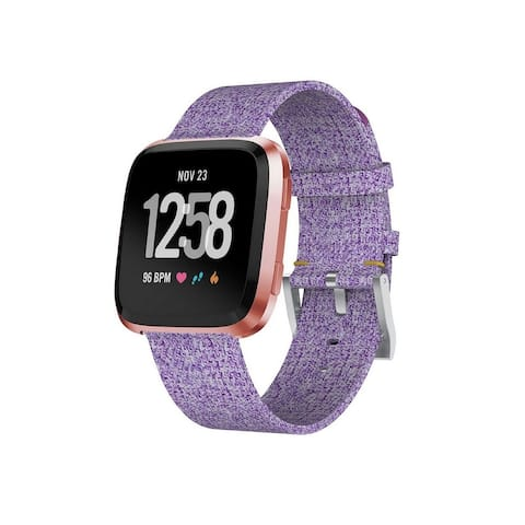 Zodaca Woven Wristband Watch Strap Band Replacement with Metal Buckle Clasp for Fitbit Versa Smart Watch (Assorted Colors)
