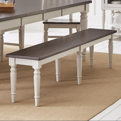 Wooden Armless Bench with Turned Feet, Dark Brown & Light Gray