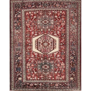 """Vintage Hand Knotted Woolen Gharajeh Persian Traditional Area Rug Red - 6'4"""" x 4'9"""""""