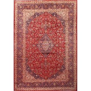 "Vintage Handmade Wool Classical Kashan Persian Medallion Area Rug - 14'0"" x 9'9"""