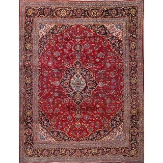 "Vintage Hand Made Traditional Floral Kashan Persian Medallion Area Rug - 12'4"" x 9'6"""