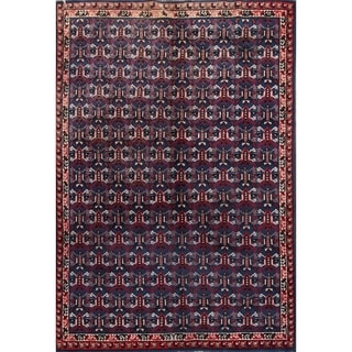 "Oriental Hand Knotted Moroccan Geometric Area Rug Vintage Blue - 9'6"" x 6'7"""
