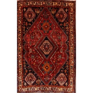 """Abadeh Traditional Shiraz Antique Persian Area Rug Hand Made Red - 6'8"""" x 4'3"""""""