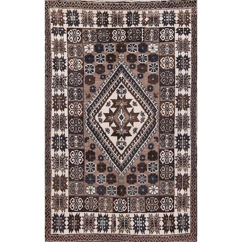 "Oriental Hand Made Wool Area Rug Moroccan Geometric Beige - 7'5"" x 4'9"""