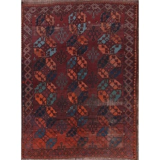 """Balouch Afghan Traditional Hand Knotted Geometric Antique Area Rug - 8'6"""" x 6'5"""""""