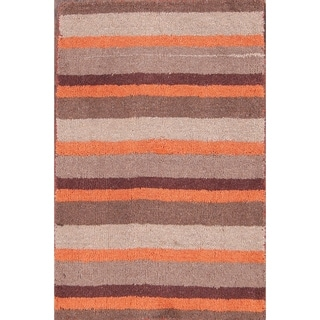 """Gabbeh Indian Traditional Hand Tufted Oriental Striped Area Rug - 2'11"""" x 1'11"""""""